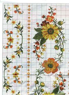 Patterns for cross stitch flowers. Cross Stitch Cards, Cross Stitch Borders, Cross Stitch Flowers, Cross Stitch Designs, Cross Stitching, Cross Stitch Patterns, Christmas Embroidery Patterns, Diy Embroidery, Cross Stitch Embroidery