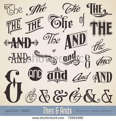 Illustration of vector set ornate hand-lettered thes ands - perfect for headlines, signs or similar graphic projects vector art, clipart and stock vectors. Lettering Styles, Brush Lettering, Lettering Design, Calligraphy Letters, Typography Letters, Vintage Typography, Vector Logos, Typographie Fonts, Graphic Projects