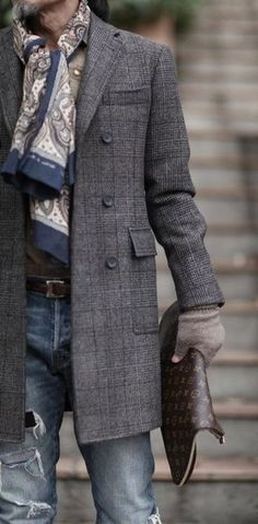 Men's Charcoal Plaid Overcoat, Blue Ripped Skinny Jeans, Dark Brown Print Leather Zip Pouch, Beige Paisley Scarf | Men's Fashion