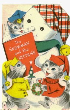 Snowman and the Kittens vintage Christmas card