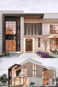 Elegant Modern Villa in KSA Modern house design - Modern House Facades, Modern Architecture House, Modern House Plans, Facade Architecture, Residential Architecture, Big Modern Houses, Japanese Modern House, Modern Buildings, Landscape Architecture