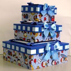 Trio de caixas forradas em tecido com shaker box
