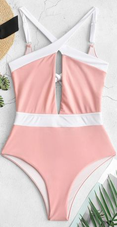 Cross High Cut Knotted Bralette Swimsuit - Swimsuits - Ideas of Swimsuits Bathing Suits For Teens, Summer Bathing Suits, Cute Bathing Suits, Summer Bikinis, Cute Bikinis, Teen Fashion Outfits, Mode Outfits, Cute One Piece Swimsuits, Bikini Outfits