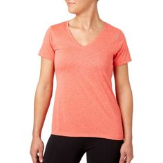 Reebok Women's Plus Size Heather Performance V-Neck T-Shirt, Size: 2XL, Hthr Fire Coral Dd