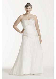 Lace A-line Side Split Plus Size Wedding Dress 9YP3344