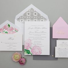 "Brides: Romantic Pink and White Floral Invitation. ""Blossom Deary Formal"" letterpress wedding invitation, starting at $2,500 for 100 invitations, Cheree Berry Paper"