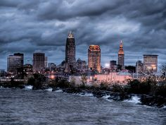 Cleveland Skyline At Dusk From Edgewater Park Print by At Lands End Photography