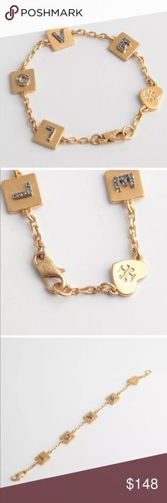 """New! Tory Burch Love Charm Bracelet New! Tory Burch Love Charm Bracelet • Brand New without tags or bag • Gold plated with dark crystals • Never worn & super cute with Matching Necklace (listed separately). About 7"""" long with Tory Burch logo engraved heart and lobster clasp closure. Backordered and Sold out on most sites. But we have yours!  Pair with Matching Necklace & Save on the Bundle! Tory Burch Jewelry Bracelets"""