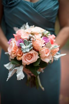 Peach + Pink + Succulent Bouquet || On SMP: http://www.StyleMePretty.com/mid-atlantic-weddings/2014/02/21/philadelphia-wedding-at-the-old-mill/Asya Photography