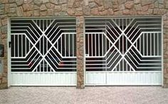 Portão Tubular com soleira de chapa painel e social embutido Modern Fence Design, Grill Design, Grades, Security Door, Gate Design, Iron Work, Iron Gates, Fence Gate, Garage Doors