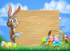 Buy Easter Bunny Sign Background by Krisdog on GraphicRiver. Cartoon Easter bunny and Easter basket full of Easter eggs background Happy Easter, Easter Bunny, Easter Eggs, Boarders And Frames, Easter Backgrounds, Bunny Party, Powerpoint Background Design, Cartoon Background, Easter Chocolate