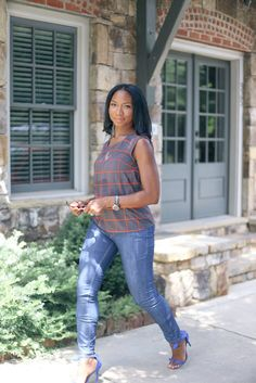Plaid Blouse, Skinny Jeans and Royal Blue Bow Heels-justmemesu