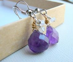 Amethyst and moonstone briolette earrings February by JewelrybyJMS, $15.00