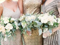 White and cream wedding bouquets - eucalyptus bouquet - Obsessed with This New Orleans Wedding - MODwedding