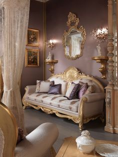 Hand-carved Sitting-Room with Gold Leaf Finishing – Classic Italian Furniture …