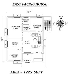 Amazing East facing House Plan As Per Vastu Shastra,,Autocad DWG and Pdf file details. 40x60 House Plans, Duplex Floor Plans, Small House Floor Plans, 2bhk House Plan, Model House Plan, Home Map Design, North Facing House, 1 Bedroom House Plans, Small House Layout