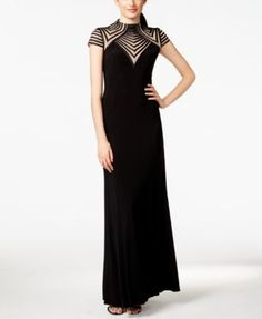 Betsy & Adam Illusion-Striped Gown - Dresses - Women - Macy's $209