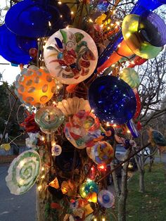 Kurt's outdoor art installation--made from odds and ends of thrift store glass, collected over the months and years. A neighborhood landmark!