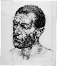 this is an artist I discovered towards the end of my BFA. She's amazing, she does these portraits by putting down charcoal, then tearing pieces of the paper off and glueing them back on, slowly building up these textured, beautiful surfaces.