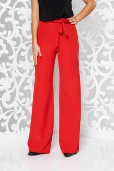 StarShinerS elegant accessorized with tied waistband red trousers slightly elastic fabric high waisted flared Red Trousers, High Waisted Flares, Fabric Textures, Product Label, Office Fashion, Flare Pants, Elastic Waist, Glamour, Tie