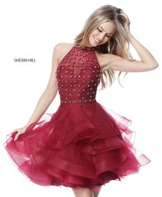 Burgundy Beaded Bodice 51559 High Neck Tulle Tiered Short Dress For Homecoming by Sherri Hill