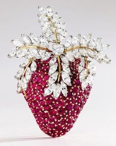 18k gold, platinum, diamond and ruby brooch. Schlumberger for Tiffany & Co., France - Sotheby's