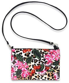 Liquorbrand Leopard Cherry Blossom Rockabilly Crossbody Festival Bag Purse $21.99