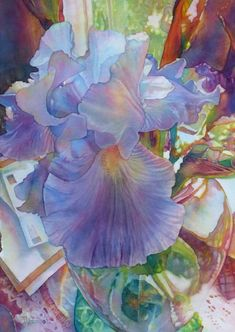 Jeannie Vodden WATERCOLOR [not fond of all the background, but the painting of the iris is exquisite] Art Aquarelle, Watercolour Painting, Watercolor Flowers, Watercolors, Silk Painting, Arte Floral, Iris Art, Fleurs Diy, Botanical Art