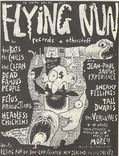 flying nun Jean Paul Sartre, Rock Posters, Nun, Rock And Roll, Famous People, Screen Printing, Indie, Waffle, Music