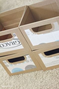 Next time I'm struggling to find storage that fits my space, I'll just make it! This is a great tutorial + ideas post on how to do that.Cardboard recycled custom storage boxes byBecause I need to make some storage boxes for my crazy deep bathroom clo Cardboard Recycling, Cardboard Storage, Diy Storage Boxes, Cardboard Furniture, Craft Room Storage, Cardboard Crafts, Craft Organization, Organizing, Bathroom Organization