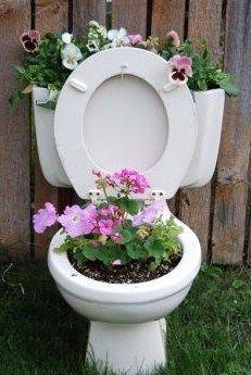Découvrez ces décorations insolites au jardin, des décos drôles et originales à base de détournements d'objets ! Peut-on faire mieux comme toilettes bios, écolos, rigolos ! à voir aussi la déco des toilettes