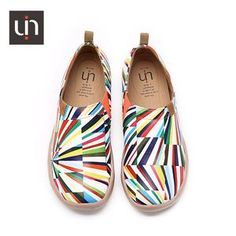 UIN wholesale Kaleidoscope colorful fashion footwear new women fashion sneakers uin fitness shoes Zapatos Slip On, Sneakers Fashion, Fashion Shoes, Workout Shoes, Leather Material, Slip On Sneakers, Colorful Fashion, Daily Wear, Boat Shoes
