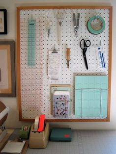 ***use framed pegboard to hold all your most useful tools and extra supplies - punch hole on top of package and hang on long hooks - razors, toothbrushes...use bins for stuff you cant hang - toothpaste...use glass continers on shelf for other products, bars of soap, lotions...****