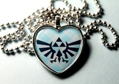 Legend of Zelda Triforce in Heart Video Game Cameo Pendant Necklace