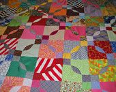 Handmade, Vintage Quilt Top, bright bold multi colors, 78 inches long, 60 inches wide by vintagefinds61 on Etsy, $29.00 USD
