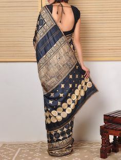 This sari is inspiring me for home decor. Tussar Saree with Kantha at Jaypore.