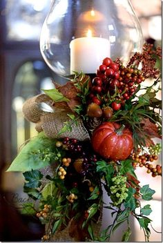 You could change out the pumpkin ( maybe use a pomegranate) and ribbon. You would have a nice decoration for Christmas!