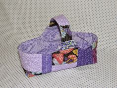 little quilted basket, scrappy, free motion quilting