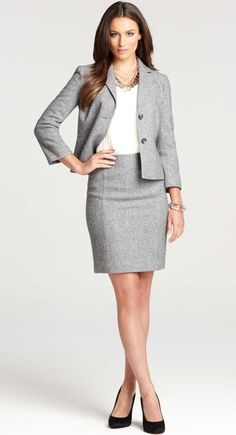 Ann taylor professional skirt suit, but the skirt should go down to the knee. this ensures that is still a respectable length when you sit down. Business Professional Dress, Professional Dresses, Business Casual Outfits, Business Dresses, Office Outfits, Professional Wardrobe, Work Outfits, Office Fashion, Business Fashion