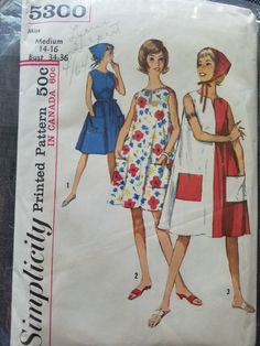 Mod Fashion, Vintage Fashion, Womens Fashion, Dress Patterns, Sewing Patterns, Simplicity Patterns, Vintage Dresses, 1960s, Maternity