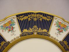 Set of 12 Royal Doulton Cobalt & Gold With Floral Panel Service Plates