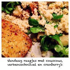 Raapjes met couscous varkensschnitzel en cranberry's #HelloFresh