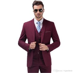 Burgundy Suits for Mens Groom Tuxedos One Button Slim Fit Best man Men Wedding Party Prom Dress(Jacket+Pants+Vest)