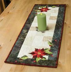 POINSETTIA AND HOLLY TABLE RUNNER PATTERN. Love to do something like this and applique a snowman, Christmas tree or even some other holiday or seasonal design changing the color scheme to go with whatever design I choose. Christmas Patchwork, Christmas Placemats, Christmas Runner, Christmas Sewing, Christmas Projects, Christmas Quilting, Christmas Tree, Table Runner And Placemats, Table Runner Pattern