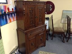 Solid Oak China Cabinet - China cabinet matches the dining room set we have.   Recently professionally refinished.    Item 00108-161.   Price   $520.00    - http://takeitorleaveit.co/2017/01/06/solid-oak-china-cabinet-3/