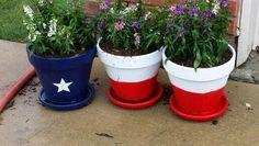 Giant TX flag flower pots