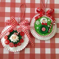 Christmas Felt Ornaments / Santa Claus and Snowman Ornaments / Set of 2 / Xmas Santa - Snowman Whimsical Ornaments / Handmade Design Felt