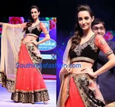 Black and Peach Lehenga/Half Saree ~ Celebrity Sarees, Designer Sarees, Bridal Sarees, Latest Blouse Designs 2014