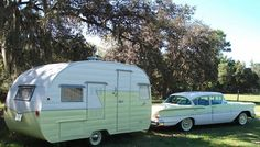 1958 Chevrolet Biscayne and 1957 Shasta trailer Camping Vintage, Vintage Rv, Vintage Caravans, Vintage Travel Trailers, Vintage Design, Vintage Campers, Vintage Style, Hot Trailer, Shasta Trailer