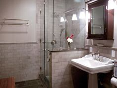 loving this shower tile and glass door